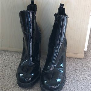 Shiny latex-looking black sock boots
